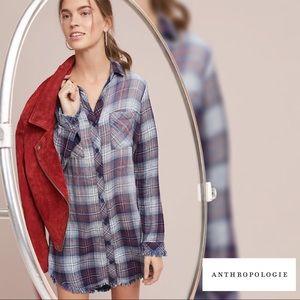 {Anthropologie} Cloth & Stone Raw-Edge Shirtdress